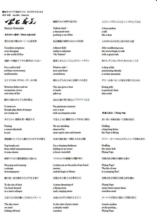 六番、国際俳人 夏石番矢【 あたたかい迷路/空飛ぶ法王】tex.1